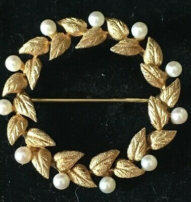 14K Yellow Gold and Pearl Brooch / Pin Wreath Design antique 5.2 GRAMS