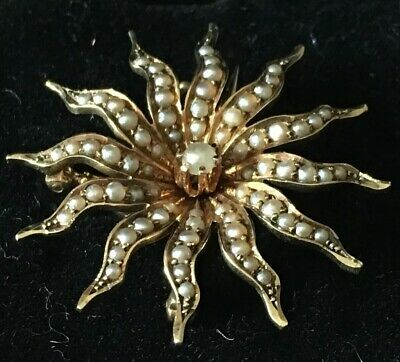 14K Yellow Gold and Pearl Floral Brooch / Pin antique 4.2 GRAMS Signed By Maker