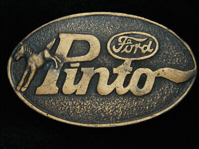 QB05153 VINTAGE 1970s **FORD PINTO** CAR COMMEMORATIVE BRASSTONE BELT BUCKLE