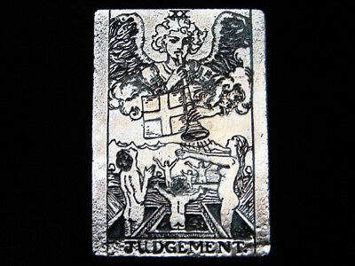 QB07121 VINTAGE 1970s **JUDGEMENT** TAROT CARD FANTASY ARTWORK PEWTER BUCKLE