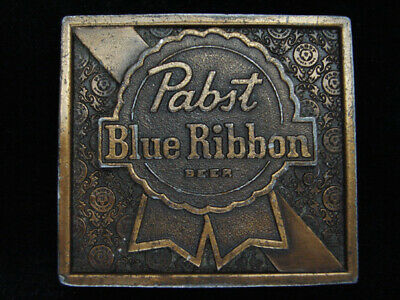 Qb13144 Vintage 1975 **Pabst Blue Ribbon Beer** Brewing Co. Bergamot Belt Buckle