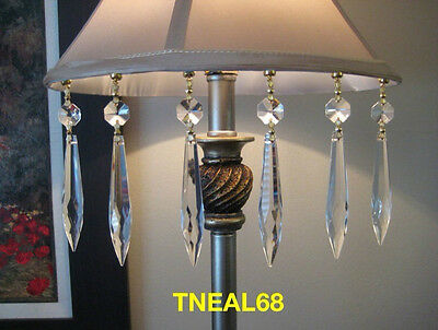 6 REAL CRYSTAL  U-drop Light Magnetic Icicles Charms Chandelier Lamp Wedding