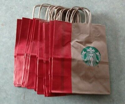 Starbucks 15 Reusable Recycled Brown Paper Shopping Lunch Gift Bags With Handle