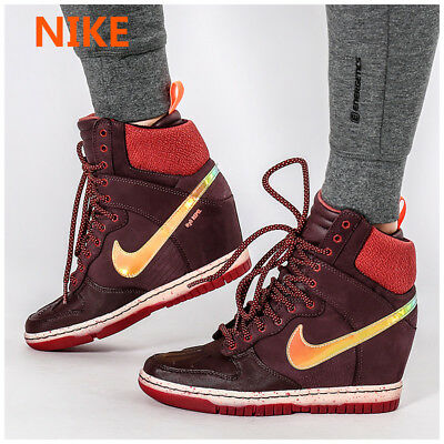 detailed look d35c1 20cbb Nike Dunk Sky Hi Sneakerboot 2.0 Burgundy Wedge Shoe Iridescent Hologram  Women 7