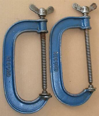 "Vintage Record 6"" G Clamps  Pair Made In England Engineers Old Tool."