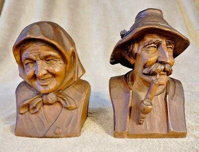 Vintage Carved Wooden Old Man and Woman Black Forest Style Bookends Innsbruck