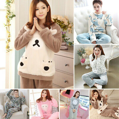Women Warm Flannel Pajamas Set Winter Sleepwear Sleep Cloth Oversize Casual Soft