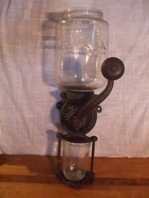 Vintage Steinfeld Wall Mounted Coffee Grinder with replacement glass cup