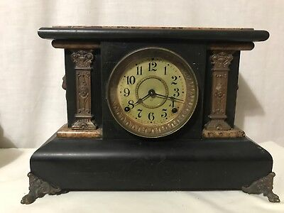 Antique Seth Thomas Adamantine 1880 Mantle Clock Pendulum Lion Handles