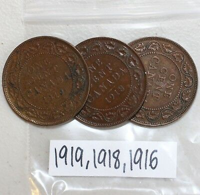 1916 1918 1919 Copper Canadian Large Cent One Cent Coins Lot of 3 K