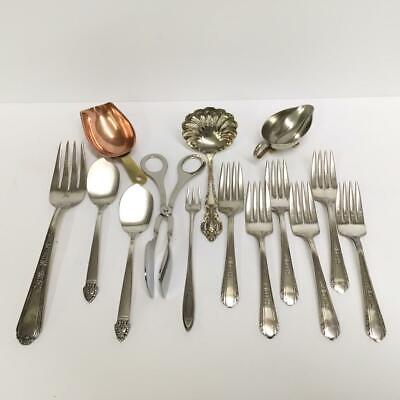 Serving Pieces Lot of 14 Pieces Vtg Silver Plate Silverplate Copper / Flatware