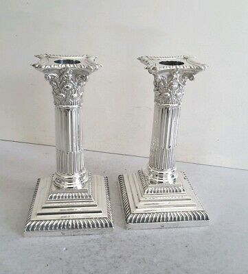 Quality Pair Victorian Ant. Solid Silver Candlesticks.   Ht.15.7Cms.   Lon.1895.