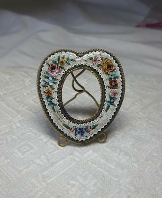 Micro Mosaic Heart Picture Frame Antique Miniature Italy Ormolu Gilt c1900 Rare