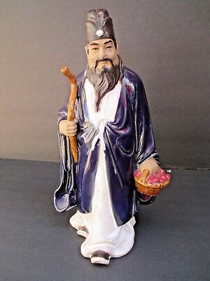 "Vintage Chinese MudMan Mud Man w/Walking Stick Basket Figurine 10 1/2"" Tall 8379"