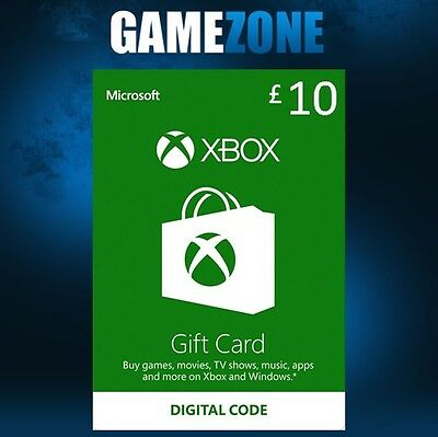 Microsoft Xbox Live £10 GBP UK Gift Card Points Pounds For Xbox 360 / Xbox One