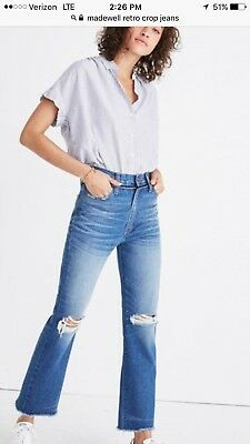 8f697ae149e NWT MADEWELL Retro Crop Bootcut Jeans Ripped Knee edition Size 24 ...