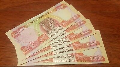 25K Notes * AUTHENTIC * BEST RATE!! Uncirculated 5 Iraqi Dinar