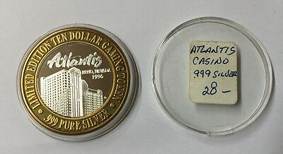 Limited Edition $10 Dollar Token Atlantis Casino Reno, NV 1996 .999 Pure Silver