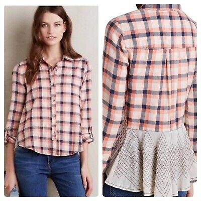 68fb88ac456 Anthropologie Holding Horses Plaid Flannel Shirt Tunic Top Size 6 Womens  Lace