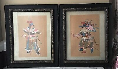 E, Pair Of Vintage original hand painted Chinese Arts, Framed