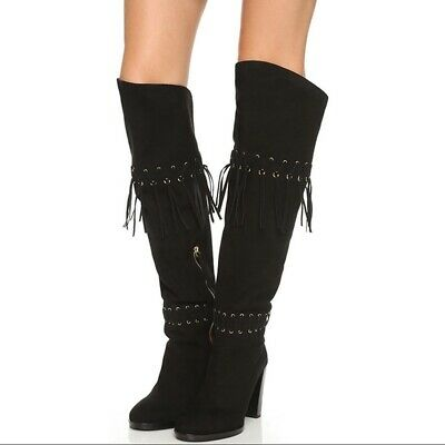4d5bf3aeb22 NEW REBECCA Minkoff Fringe Suede Over The Knee Boots Black INEZ SIZE ...