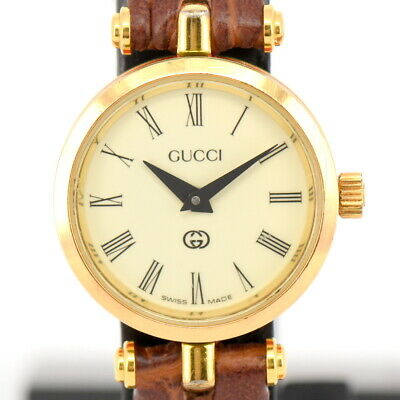 26e6dc75bb0 AUTH GUCCI 6300L White Dial Gold Plated Leather Quartz Women s Watch ...