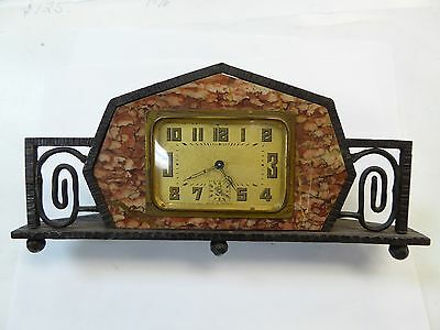 Antique French France Marble Clock Brass  Movement Runs Well. Singed Piece