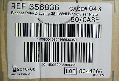 Case/50  BioCoat Poly-D-Lysine 384 Well Plates Black / Clear  #356836