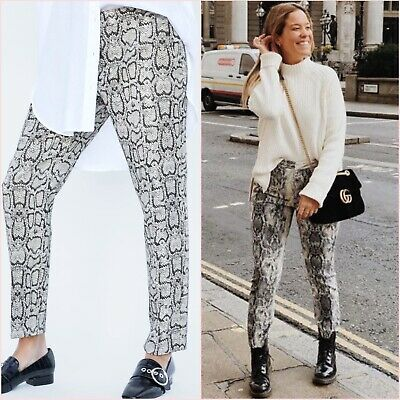29765bb8 Zara Snake Skin Grey Print Straight Trousers Pants Chino S UK 8 US 4  Blogger ❤