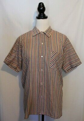 VINTAGE 1970's AMBASSADOR ~ Mens Multi Coloured Check Rockabilly S/S Shirt L