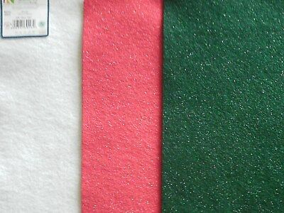 Felt Squares~Glitter~A4 Size~Red/ White/ Green~Xmas Colours 30 Pieces~Craft Felt