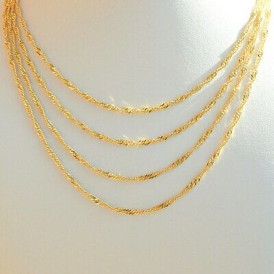 Womens Chain Necklace Gold plated 24k Minimalist Singapore Rope Chains - 2.5mm