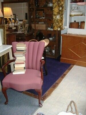 Deep Berry Channel Back Fireside Arm Chair Vintage Antique STO