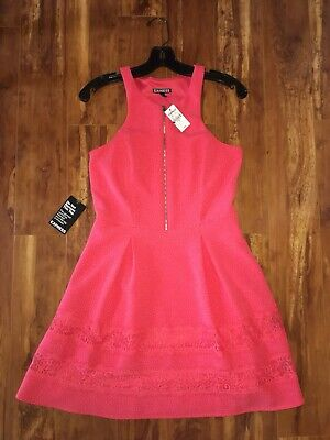 NEW EXPRESS Coral Pink Zip Front Lace Fit & Flare Dress w/ Pockets Sz 6 Small