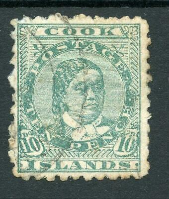 Cook Islands 1902 10d green SG35 used cat £110