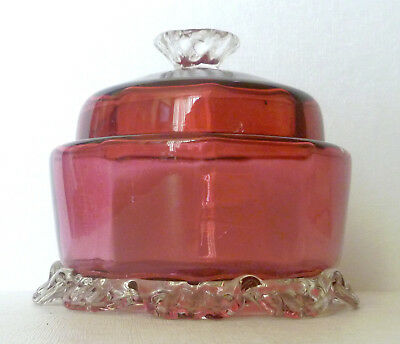 Vintage Cranberry Glass Covered Candy Dish, Clear Applied Feet