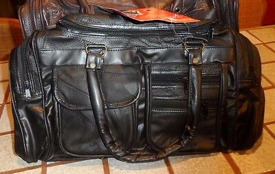 """18"""" Leather Tote Bag Gym Duffle Travel Luggage Overnight Carry-on Black"""