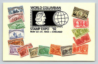 Postcard World Colombian Stamp Expo May 22-31 1992 Chicago IL Collectors A32