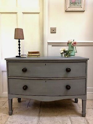 Antique Painted Grey Chest Of Drawers Dresser Sideboard