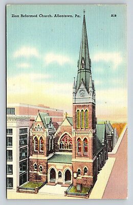 Postcard Zion Reformed Church Vintage Linen Allentown Penn Liberty Bell A20