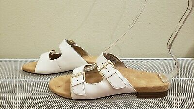74e5dd870628 Vionic CZARINA With Orthaheel Women s White Leather Two Straps SANDALS Size  8.5