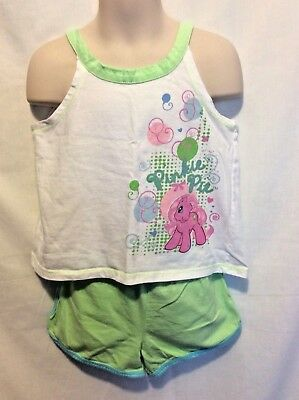 My Little Pony Girl's 2 Pc Set Pinkie Pie Green White Tank Short Outfit Size 4-5
