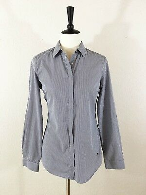 MASSIMO DUTTI 100% Cotton Blue White Fitted Pinstripe Button Down Shirt WMN S