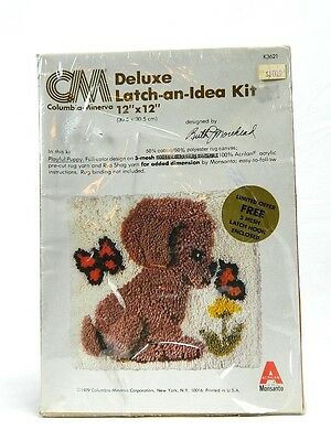 Latch Hook Kit Deluxe Latch an Idea Playfull Puppy Vintage Columbia Minerva 1979