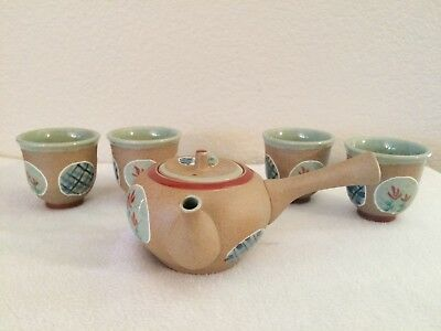 Vtg Chinese Miniature Pottery Handled Teaset with Enameled Designs  Blue Stamped
