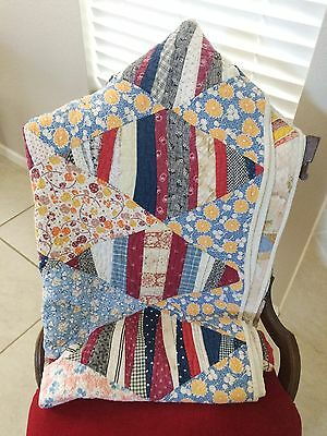 "Antique Hand Made Quilt Very Large 80"" x 72"" Beautiful!!"
