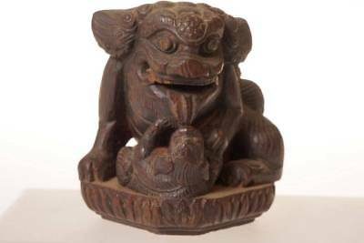 Chinese Antique Ming Dynasty Wooden Carved Foo dog  / Lion Statues