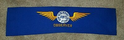 VINTAGE: WWII US ARMY AIR FORCE AWS OBSERVER Felt Arm Patch