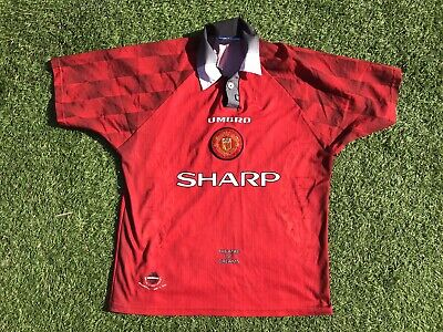 outlet store 63ac5 bbe07 MANCHESTER UNITED 1996 1997 1998 Home Umbro Original Vintage Football Shirt  L