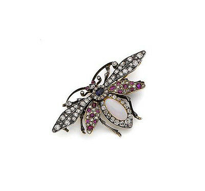 b493d427c ANTIQUE ROSE CUT DIAMOND 1.80ct SILVER SAPPHIRE RUBY OPAL BUTTERFLY REPRO  BROOCH